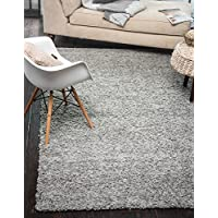 """A2Z Rug ( 200x290 cm (6ft8"""" x 9ft7"""") Silver ) Cozy Shag Collection Solid 5.5 cm Pile Shag Rug Contemporary Living & Bedroom Soft Shaggy Area Rug, Carpet"""