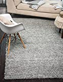 A2Z Rug Cozy Shag Collection Solid Shag Rug Contemporary Living & Bedroom Soft Shaggy Area Rug, 60X100 CM - 2'X3'3'' FT Silver Carpet (60X100 CM - 2'X3'3'' FT, Grey)