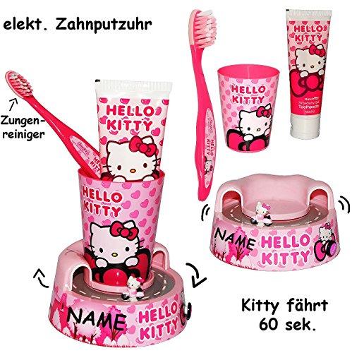 """4 tlg. Zahnputzset _ """" Hello Kitty """" - Zahnbürste & elektrische Zahnputzuhr - incl. Name - Zahnputzbecher & Halter & Zahncreme - Kinder & Baby / Batterie betrieben - hochwertige Borsten - Kinderzahnbürste & Babyzahnbürste - Katze / Kätzchen - Mädchen - zum Hinstellen / Aufstellen - Putztrainer - Zähne putzen - elektrisch Kleinkinder / Zahnbürsten / Zähneputzen lernen - Zahnpasta"""