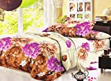 Dekor World 3D Multi Printed Double Bedsheet W/Pillow Cover (Pack of 3)