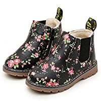 Anglewolf Children Fashion Boys Girls Sneaker Boots Autumn Winter Warm Thick Baby Kids Unisex Casual Floral Printing Zipper Up Shoes Leather Snow Shoes(Green-Cotton,UK:6)