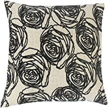 La almohada Collection Ilaria para cojín, diseño de flores, color negro