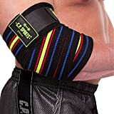 C.P. Sports Profi Powerlifting Ellenbogen Bandage 180cm extra lang schwarz/blau-rot-gelb Bodybuilding, Kraftsport, Fitness