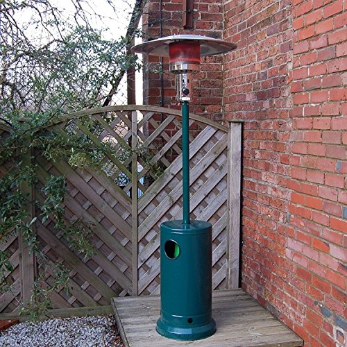 Floor Standing Gas Patio Heater - 2.1m High in Green Steel with Free Propane Regulator & Hose