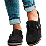BOLANA Flat Mule Sandals Womens Round Toe Backless Slip On Loafer Shoes Closed Toe Walking Slippers Lady Boat Shoes