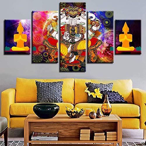 Leinwand Malerei Wohnkultur HD Drucke Rahmen 5 Stücke Lord Ganesha Bilder Wohnzimmer Wandkunst Hindu Indien Mythologie Poster größe 1 Rahmen