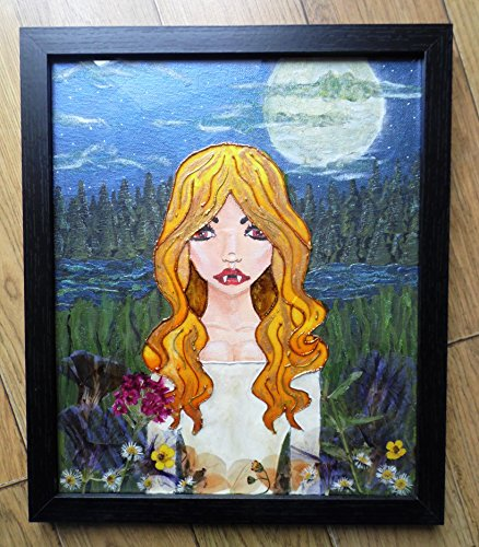 Newly Reborn Vampire Vampiress original mixed media framed artwork using paint, pencil, pebeo 3d and special effect paints and dried flowers