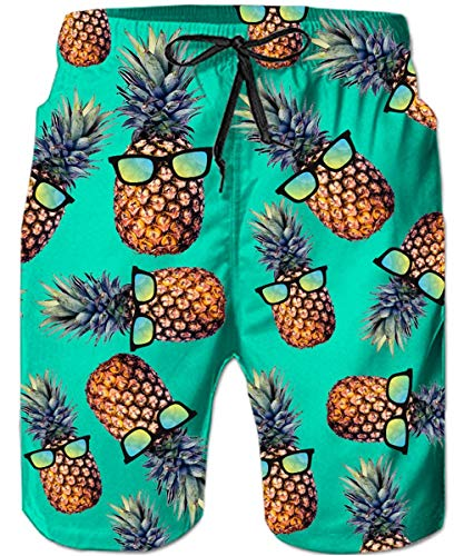 TUONROAD Badeshorts für Männer Cool Ananas 3D Badehose Herren Schnelltrocknend Bermuda Surf Shorts Bunt Kurze Hawaii Hose Knielang Boardshorts Sommer Schwimmhose Strandhose mit Mesh Futter Grün - 3XL