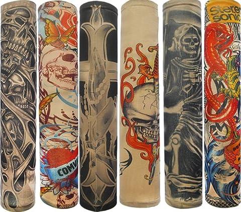 Autek Style de Lot 6 Pcs temporaire Faux Glissement tatouage manches bras Kit Collection (Tattoo-6pc) (type C)