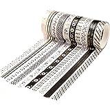 YUBX Maigre Or Washi Tape Set Masking Tape Ruban adhesif decoratif pour Scrapbooking Artisanat de Bricolage 8MM de large (Bla
