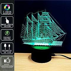 Idea Regalo - Nave da crociera Lampada di Tocco Luminosa 3D di Fipart, Lampada di Atmosfera Dell'umore di 7 Colori, Con Base Acrilica e LED Elegante Decorativo USB