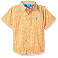 U.S. Polo Assn. Boys' Big Short Sleeve Plaid Sport Shirt, check dots warhol orange, 14/16
