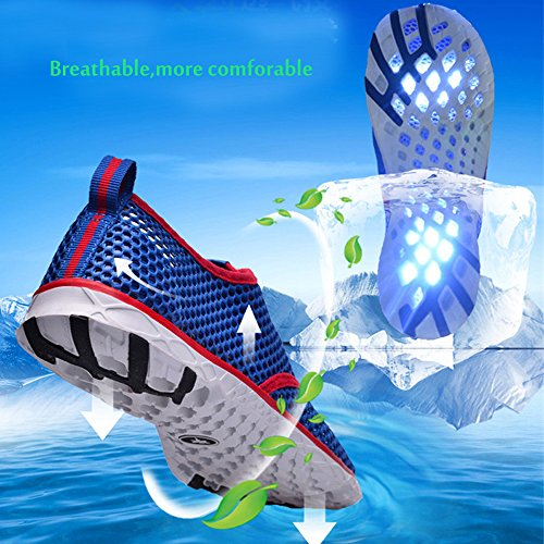 Scarpe d'acqua Unisex, Mesh Traspirante Impermeabile Slip-On Rapida Asciugatura Scarpe Da Mare Uomo Donna blu