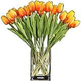 Vektenxi Künstliche Tulpe Blume Latex Real Touch Künstliche Blume Mit Blätter Blumenstrauß Für Hochzeit Party Decor 10 Stücke Gelb
