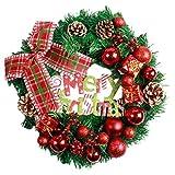 AMUSTER Weihnachten Deko Weihnachten große Kranz Tür Wand Ornament Girlande Dekoration Rot Bowknot Weihnachtsbaum Decor (One size, A)
