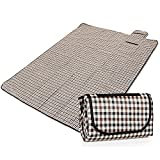 Coksupa 200*150 CM Foldable Large Outdoor Travel Camping Picnic Blankets Mats PVC Waterproof Backing 300D Oxford Fabric for Hiking,Beach,Baby Crawling,Children Playing,Sleeping,Yoga (Beige-Brown Strips)