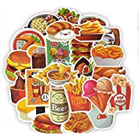 Egero Lot d'autocollants vracs 50 Stickers Fastfood, Hamburger, Fites, Soda pour Décoration de Portables, Ordinateurs…
