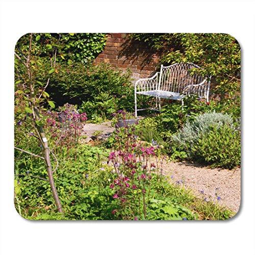 Preisvergleich Produktbild Mauspads Britisch-englische abgelegene Garten-Bank durch alte Backsteinmauer in der Ecke der Großbritannien-Farbmausunterlage für Notizbücher,  Tischrechner Mauspads