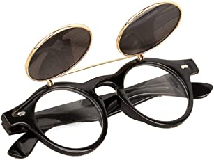 Voberry Fashion Steampunk Design Costume Round Glass Flip up Clear Lens Golden Frame Brown Sunglasses Glasses Eyewear Lens