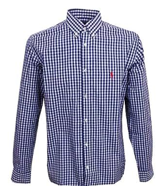 a81613755d4316 Ralph Lauren Herren Hemd Slim Fit blau weiß kariert (L)  Amazon.de ...