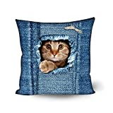 Showudesigns Fashion Cat Cushion Covers Pillow Case for Outdoor Chair Bench