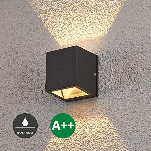 Wandleuchte außen Maurice (Modern) in Schwarz aus Aluminium (1 flammig, G9, A++) von Lampenwelt | Wandlampe für Außenwand/Hauswand, Haus, Terrasse & Balkon