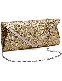 Gesu Women'S Glitter Sequins Handbag Party Evening Envelope Clutch Purse, Gold.