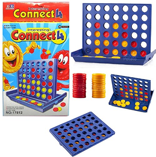 MousePotato Connect 4 in A Row 4 in A Line Compact Board Game