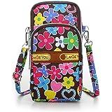 Idefair Bolso bandolera floral para niñas y niñas Bolso bandolera para teléfono móvil Bolso de algodón para teléfono móvil pa