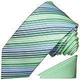 Paul Malone Kontrast Knoten Krawatten Set 2tlg modernes Design + Einstecktuch mintgrün gestreift