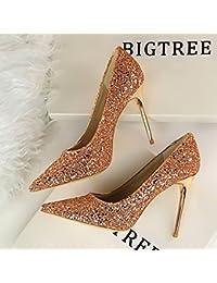 Xue Qiqi Chaussures de cour La bouche du poisson amende chaussures avec la lumière-gradient 亮 unique chaussures femmes chaussures chaussures à talons hauts chaussures dame,34, golden mariage.