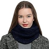 DonDon Warmer und weicher Damen Winter Schlauchschal Rundschal Strickmuster dunkelblau