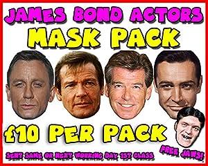 James Bond Actors Mask Pack Novelty Celebrity Face Mask Party Mask Stag Mask