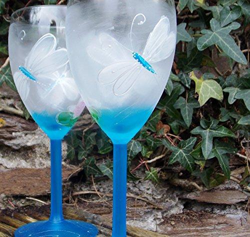 Verres à vin Motif libellule Bleu