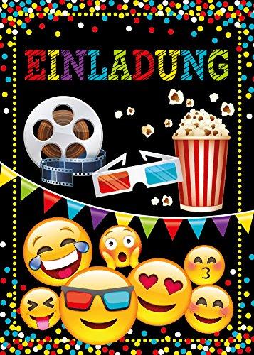 6 Einladungskarten Geburtstag Kinder Kino für Mädchen Jungen Jungs Einladungen Kindergeburtstag Geburtstagseinladungen Kartenset Party