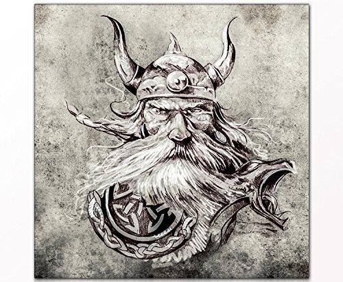 """Mural """"Vikingo"""" 80 x 80cm sobre mural y marco cuña de madera (portarretrato, dibujo, vikingo, edad media) - Mejor calidad, hecho a mano en Alemania - Simplemente desempacar, colgar y disfrutar"""