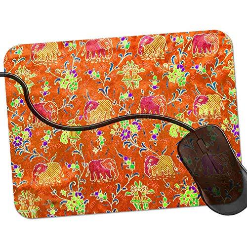 QCFW Alfombrilla de Ratón Elefantes Indios Naranja, Alfombrilla de Ratón Ordenador Gaming...
