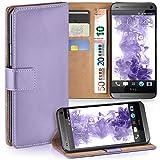 moex HTC One Mini | Hülle Flieder mit Karten-Fach 360° Book Klapp-Hülle Handytasche Kunst-Leder Handyhülle für HTC One Mini M4 Case Flip Cover Schutzhülle Tasche