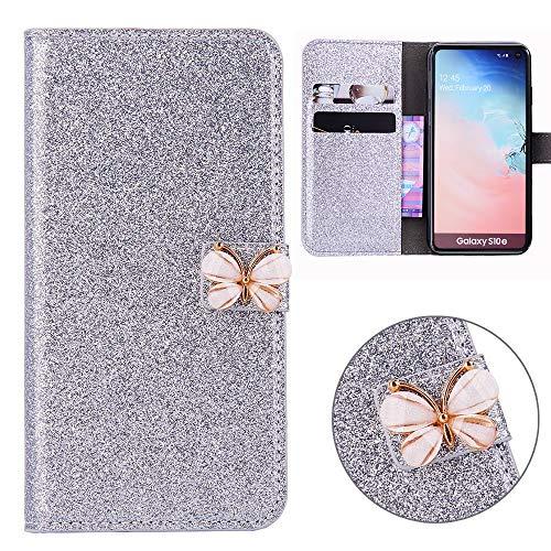 Xifanzi Glitzer PU Ledertasche für Samsung Galaxy S10E Glänzende Einfarbig Lederhülle Luxus Flip Cover Tasche Folio mit Handyhülle Kartenfächern Standfunktion - Silber