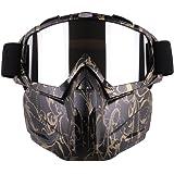Gfeu Motorradbrille mit abnehmbarer Gesichtsmaske, abnehmbare beschlagfreie Brille, verstellbarer Mundfilter, rutschfester Halteriemen, Vintage-Design, für Motocross