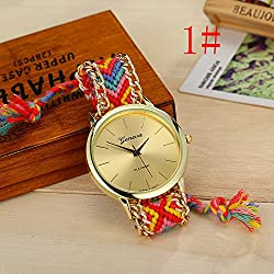13 Colours Handmade Braided Friendship Bracelet Watch GENEVA Hand-Woven Watch Ladies Quarzt Watches reloj