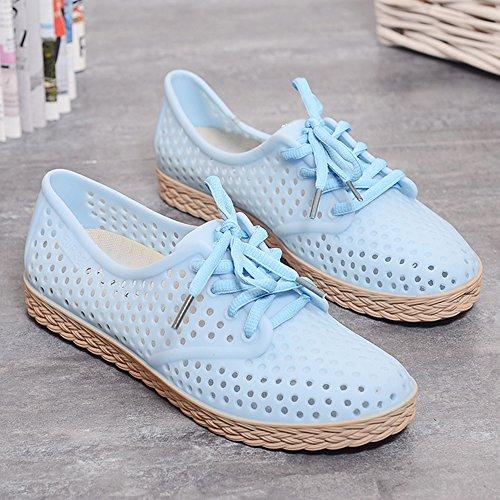 Eastlion Weibliche Sommer Flache Untere Gelee Schuhe Wasserdichte Freizeit Bequeme Spielraum Strand Sandelholze Blau