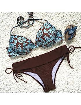 Split_Trend traje de baño bañador sello split bañador marrón arrugada cuerda trenzada split, Brown ,S