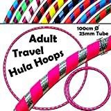 PRO Hula Hoops (Ultra-Grip/Glitter Deco) Weighted TRAVEL Hula Hoop (100cm/39') Hula Hoops For Exercise, Dance & Fitness! (640g) NO Instructions Needed - Same Day Dispatch! (UV Pink / Silver Glitter)