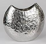 Formano Aluminium Vase oval Silber antik Schlichte Eleganz in Hammerschlag Optik (28 cm)