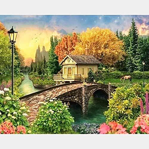 DIY Diamant Stickerei Landschaft Volle Runde Bohrer Diamant Malerei Landschaft Dorf Bild Mosaik Kreuzstich Wohnkultur 45x60cm/18x24in