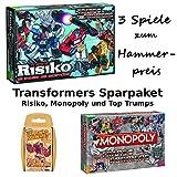 3er Set Transformers Risiko, Monopoly und Top Trumps Spiele Spielesammlung Brettspiel Gesellschaftsspiel