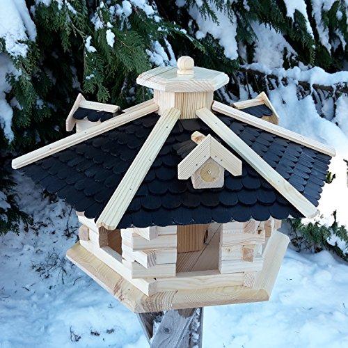 Vogelhaus Vogelhäuser Vogelfutterhaus Vogelhäuschen aus Holz Schreinerarbeit Gaube Schwarz sehr Groß XXL