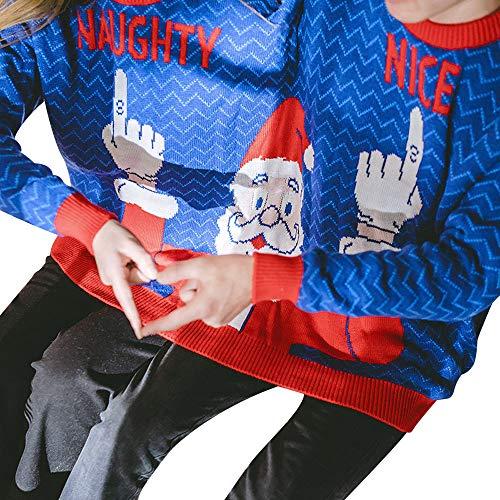 (SuperSU Zwei Personen Pullover Unisex Paare Pullover Neuheit Weihnachten Bluse Top Männer und Frauen Weihnachten Print Langarm Pullover Jumpsuit Shirt Partner Hoodies für Damen und Herren)