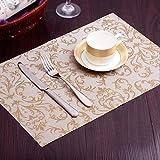 Xuan - worth having Westernmatten Tischmatten Wasserdichtes und Öl-PVC-Material Gepolsterte Matten 1pus (45 * 30cm) Tischsets ( Farbe : Gold )